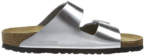 Birkenstock Arizona - Pantuflas de cuero mujer Plata - plateado (metallic silver)