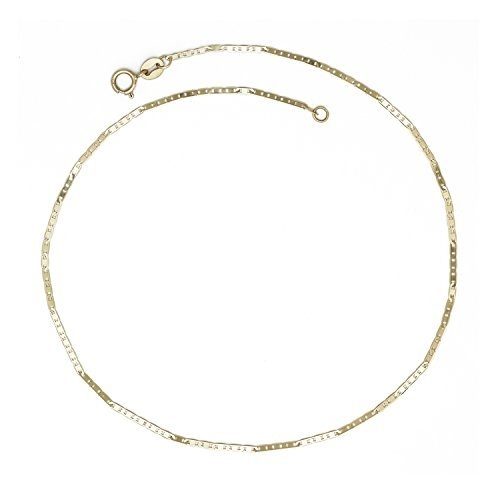 - JewelryWeb 10K Yellow Gold 10-inch Thin Flat 1.3mm Mariner Chain Anklet