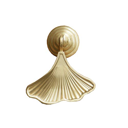 Antique Iron Door Knocker Premium Solid Brass Knobs, Golden Drop Pendant Pull Handle, Ginkgo Leaf / Mermaid Tail Shape Cabinet Knobs, Cupboard Wardrobe Kitchen Handles Home Decor Accessories ()