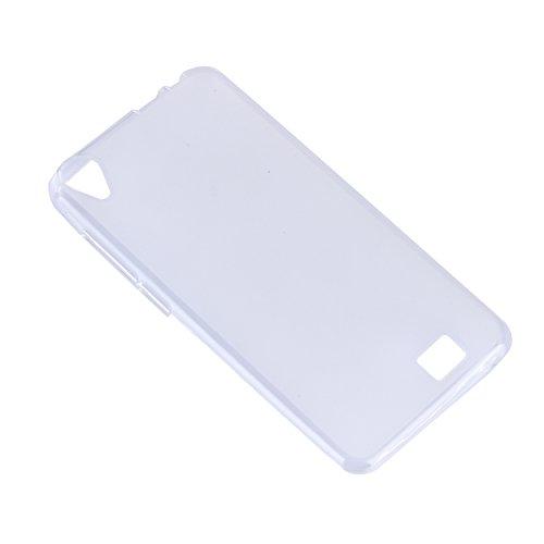 Lusee® Funda de silicona para HOMTOM HT16 5.0 pulgada Suave Cascara TPU blanco semi transparente