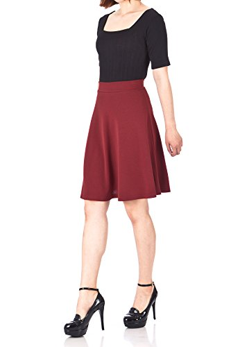 Simple Stretch A-line Flared Knee Length Skirt (L, Knee Burgundy)