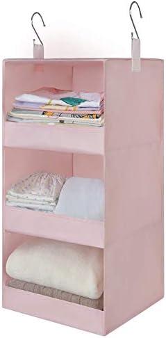 "GRANNY SAYS 3-Shelf Hanging Closet Organizer, Collapsible Closet Hanging Shelves, Nursery Hanging Organizer, Pink, 23.6"" H X 12.2"" W X 12.2"" D"