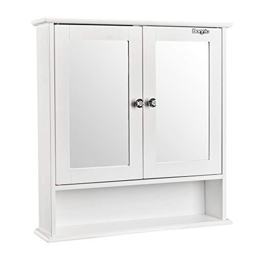 Shelf Mirror Room (Bonnlo Bathroom Wall Cabinet Modern Double Mirror Door Wall Mount Wood Storage Shelf Indoor Organizer White Finish)