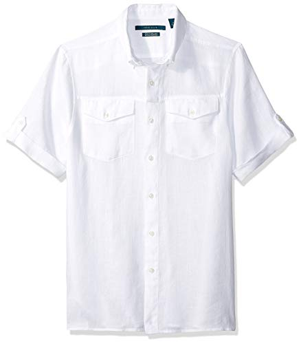 Perry Ellis Men's Slim Fit Linen Short Rolled Sleeve Shirt, Bright White/DHW Large