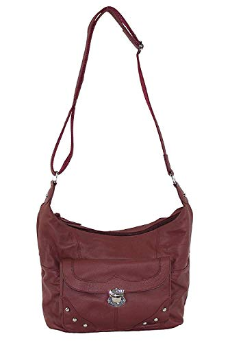 (Concealed Carry Purse - Front Studded Pocket Leather Gun Purse - Left & Righthand Draw - CCW - by Roma Leathers (Wine))