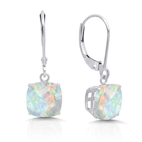 14k White Gold Created Opal Dangle Leverback Earrings (8mm)