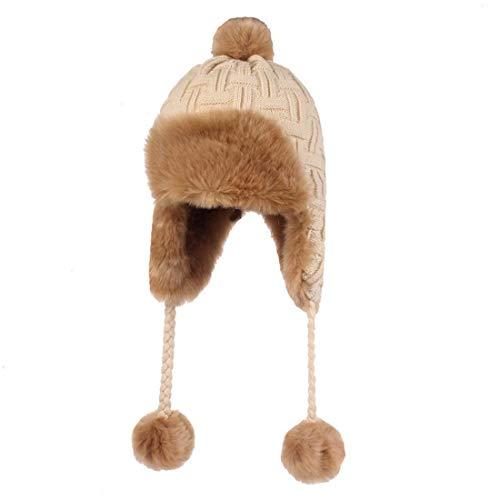 (King Star Womens Knit Peruvian Beanie Hat Winter Warm Crochet Tassel Peru Ski Cap with Earflap Pom Beige)