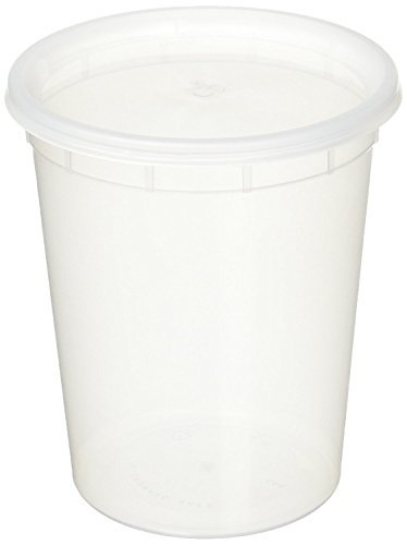Quart Plastic (32oz plastic soup/Food container with lids (50 Pack))