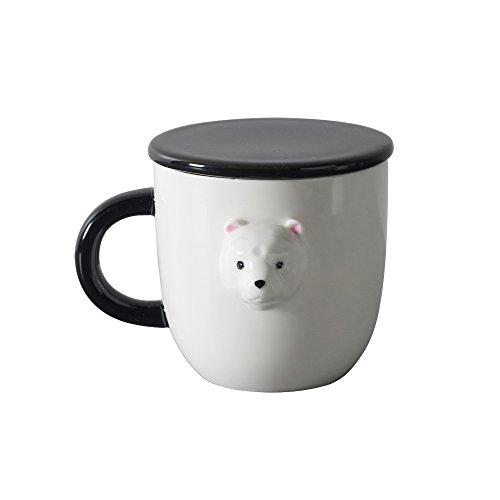 XIDUOBAO Creative Polar Bear Mug Ceramic Cup with Lid and Handle,Coffee Tumbler for Office and Home