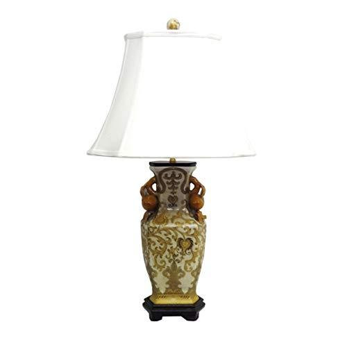 Amita Trading Inc. 1-light Cream/Gold Scrolls Porcelain Table Lamp