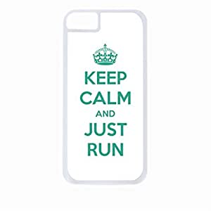 Keep Calm And Just Run-White/Green-Hard White Plastic Snap - On Case-Apple Iphone 5C Only - Great Quality!
