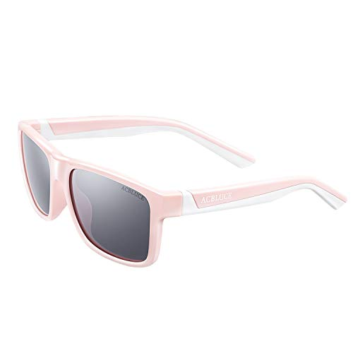 Sport Polarized Sunglasses for Kids Girls Child Teen Youth with Sunglass Strap, Bright Pink/White Frame grey Lense