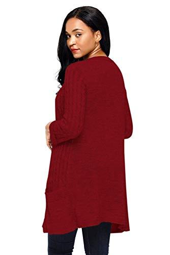 Elegante Maniche Lunga Comodo Lunghe Donne Relaxed A Con Cappotto Rot Tasche Donna Knit Fashion Leggero Giacca Outerwear Autunno Casual Primaverile Maglia Classiche qg8tqxI