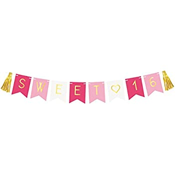 Sweet 16 Birthday Banner Sixteen Decorations Party Favors Supplies Gifts
