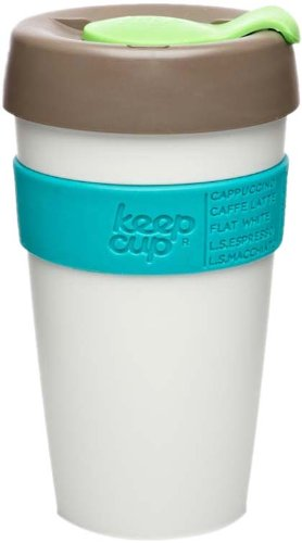 KeepCup 16oz Reusable Coffee Cup. Lightweight BPA BPS-Free Plastic & Non-Slip Silicone Band. 16-Ounce/Large, Holiday