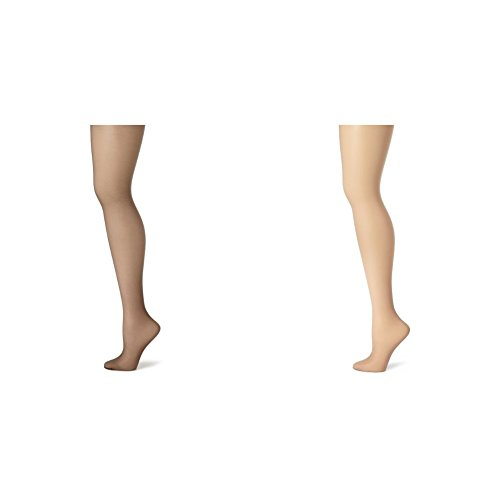 Hanes Women's Control Top Sheer Toe Silk Reflections Panty Hose, Barely Black/Soft Taupe, E/F ()