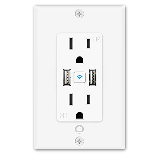 Lumary Smart Wi-Fi in-Wall Outlet 15 Amp 125 Volt Tamper Resistant Split Duplex Receptacle – 2 Plugs and 2 USB Ports, Compatible with Alexa, Google Home No Hub Required