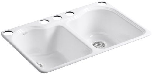 KOHLER K-5818-5U-0 Hartland Double Equal Undercounter Sink with Five-Hole Faucet Drilling, ()