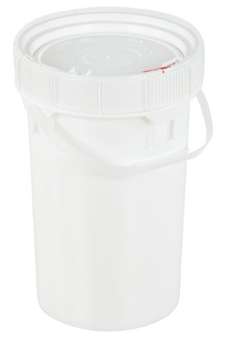 Plastic Screw Top (Vestil PAIL-SCR-65-W Plastic Screw-Top Pail with Lid and Handle, 6.5 gallon Capacity, White)
