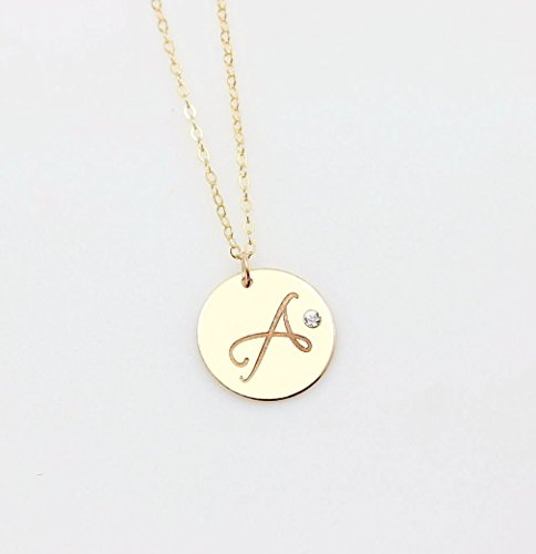 Personalized Large Circle Charm Necklace with Embedded Swarovski Diamond Crystal, Initial Disc Pendant in 14K Gold Filled or 925 Sterling Silver or 14K Rose Gold Filled -
