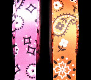 2 Yds Bandana Print Western Country Satin Ribbon 7/8