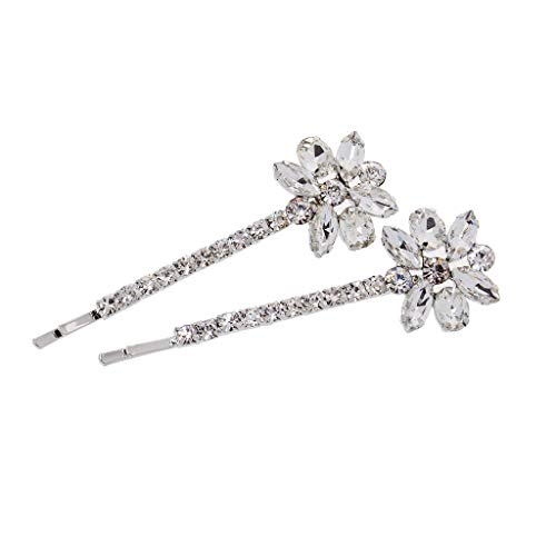 - Pair of Wedding Party Diamante Crystal Floral Hair Pins Grips Hair Clips