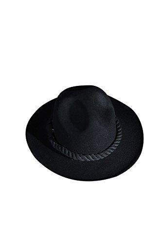 ByTheR Men's Dark Rope Decoration Quality Wool Felt Mountain Fedora Dark Hat ()