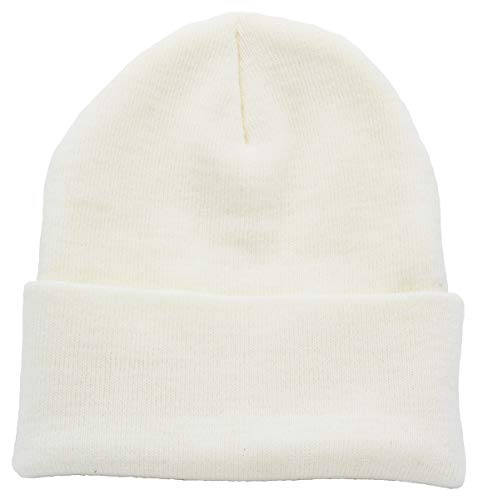 Top Level Unisex Cuffed Plain Skull Beanie Toboggan Knit Hat/Cap, White]()