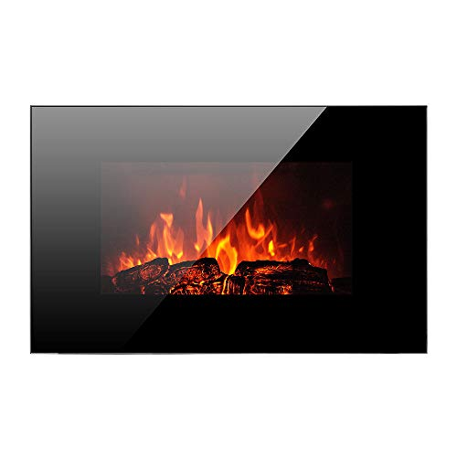 "Homeleader 36"" Electric Fireplace Heater, with Remote Control, Wall Mounted and Freestanding Fireplace, Space Heater, 1500W, Black"