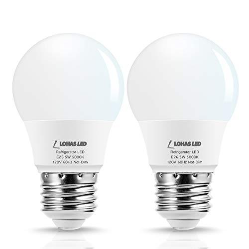 LOHAS LED Refrigerator Light Bulb, 40W Equivalent 120V A15 LED Lamp, 5 Watt Daylight 5000K with E26 Medium Base, Energy Saving Freezer Ceiling Home Lighting, Not-Dim, Waterproof, 2 Pack (Refrigerator Bulb Led)