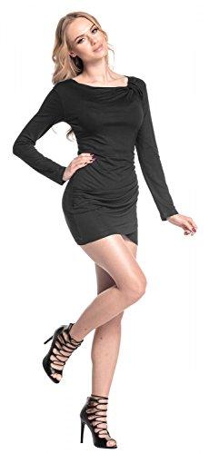 Glamour Empire. De Las Mujeres Asimétrico Cortinas Mini Vestido Linea Larga Túnica Parte Superior. 941 Negro