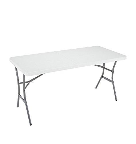 Lifetime 5-Foot Light Commercial Fold-In-Half Table – White Granite