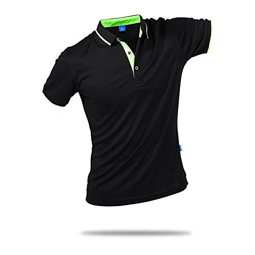 SanVera17 Unisex Casual Classic Solid Color Polo Shirts Short Sleeve Quick-Dry T-Shirt Black US XXL