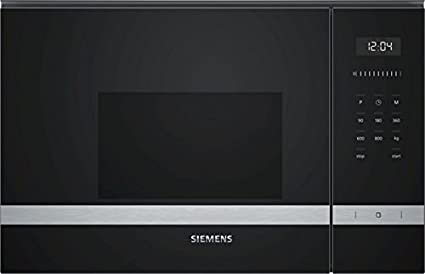 Siemens BF525LMS0 Integrado Solo - Microondas (Integrado, Solo microondas, 20 L, 800 W, Botones, Tocar, Negro, Acero inoxidable)