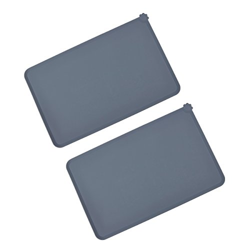 Juvale Pet Food Tray - 2-Pack Silicone Pet Food Mat, Waterproof Pet Feeding Tray with Non-Slip Bottom and Raised Edges, Grey by Juvale (Image #7)