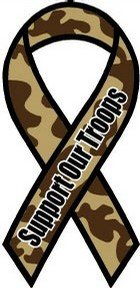 """Support Our Troops - 4"""" x 8"""" Camo Ribbon Magnet"""