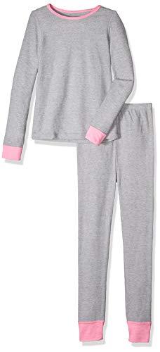 Fruit of the Loom Big Girls' Waffle Thermal Underwear Set, Light Grey Heather, 10/12