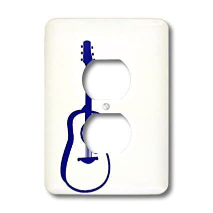 3dRose lsp/_164351/_6  Outlined Guitar Graphic Blue 2 Plug Outlet Cover