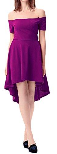 Cromoncent Femmes Sexy Épaule Large Ourlet Plissé Irrgular Salut-bas Robes Mini Violet