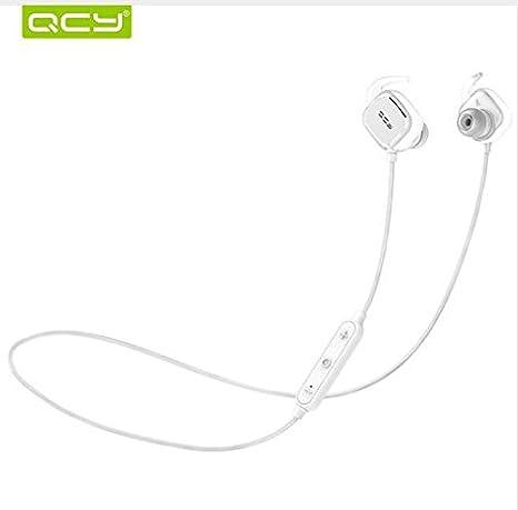 QCY qy12 Interruptor magnético auriculares inalámbricos Bluetooth auriculares deporte auriculares con micrófono cancelación de ruido auriculares - Blanco: ...