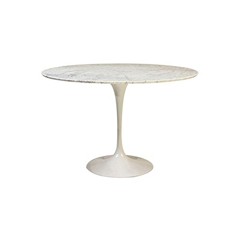 Mod Made Lily Natural Marble Round Table, 35-Inch, White