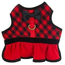 Top Paw Black & Red Check Knit Soft Padded Dog Vest/harness Skirt Dress~MEDIUM~