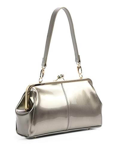 Vintage Kiss Lock Handbags Shiny Patent Leather Evening Clutch Purse Tote Bags with Chain Strap (Silver Gray)