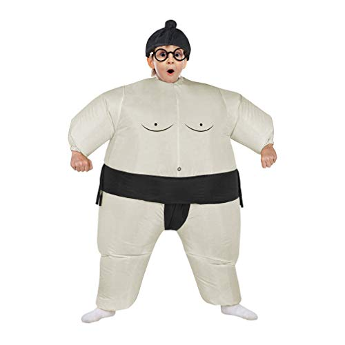 Inflatable Adult Sumo Wrestler Suits Wrestling Fancy Dress Halloween Costume One Size Fits Most (Black Kid) ()