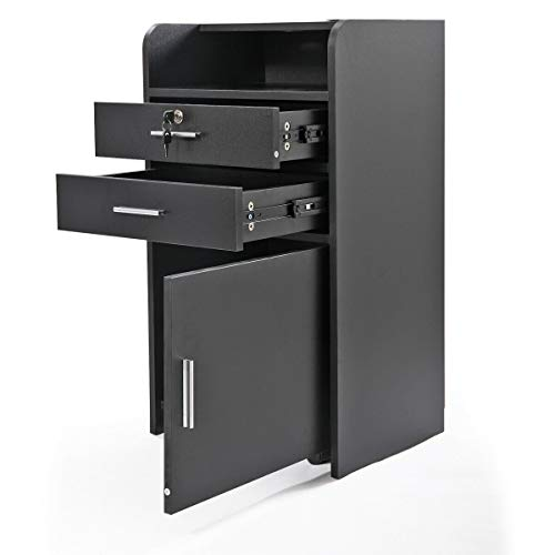 AVGDeals 3-layer Rolling Beauty Salon Cabinet Salon Station Drawer Trolley Spa Equipment |Features 3-layer cabinet design, so you can store and organize different things in it (Black)