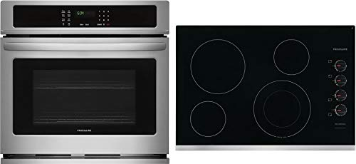 "Frigidaire 2 Piece Kitchen Appliances Package with FFEW2726TS 27"" Electric Single Wall Oven and FFEC3025US 30"" Electric Cooktop in Stainless Steel"
