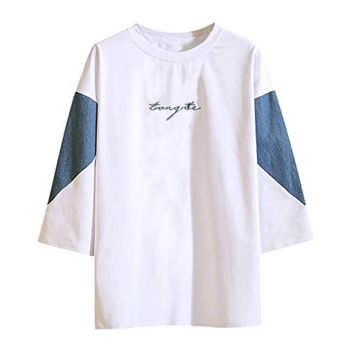 Willow S Men's Summer Casual Fashion Loose Tops Blouse Patchwork O-Neck Color Matching Half Sleeve Tunic T-Shirt White