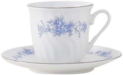 Royal Rose Porcelain Tea Cup & Saucer with Gold Trim, Set Of 6; Vintage Floral