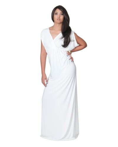 KOH KOH Plus Size Womens Long Sexy Grecian Short Sleeve Summer Empire Bridesmaid Bridesmaids Wedding Guest Casual Party Evening Sundress Gown Gowns Maxi Dress Dresses, Ivory White XL 14-16 (White Greek Dress)
