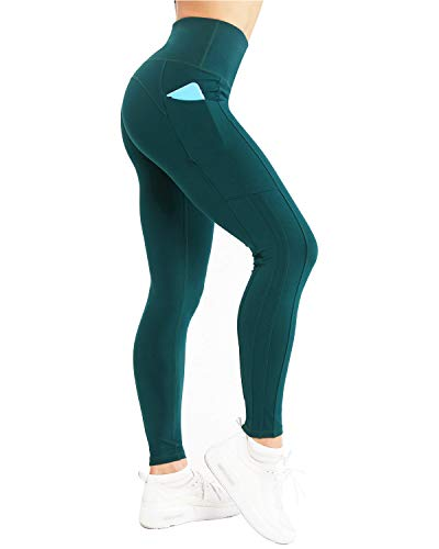 NORMOV Womens High Waisted Yoga Pants with Pockets-Four Stripes Soft Brushed Workout Leggings Dark Green]()